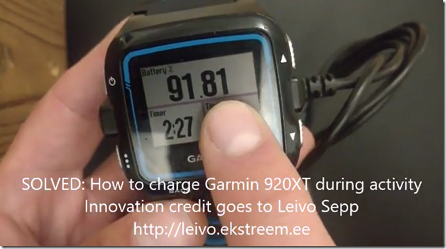 SOLVED: How to charge Garmin 920XT during activity